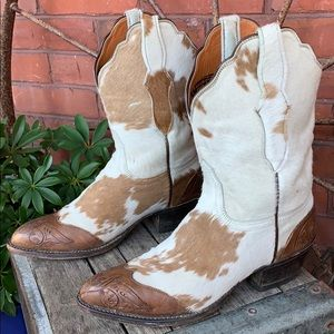 LUCCHESE 2000 Pony Cowhide Calf Hair Cowboy Boots